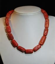 Two Pcs of Chinese Coral Necklace: 17-bead and 23-bead