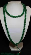 108-bead Emerald Green  Jadeite Necklace