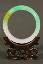 Very High-translucent Multi-tone Jadeite Bangle with great emerald green suffusions