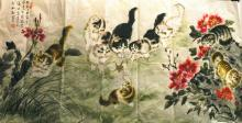 Chinese Painting of Cats,Signed Sun Ju Sheng(1913-)