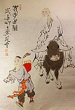 Chinese Painting of Lao Zi on paper, Signed Fan Zeng(1938-)