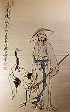 Chinese Painting of Sage and Crane, Signed Fan Zeng (1938-)