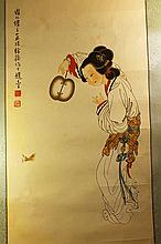 Chinese Painting of Beauty on paper,Signed Xu Cao(1899-1961)