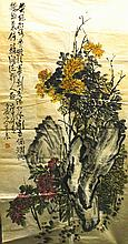 Chinese Painting of Flowers and Stone, Signed Wang Zhen(1867-1938)