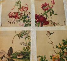 Set of 4 Watercolor Paintings of Birds and Flowers, signed and sealed Liang Shi Ning