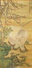 Chinese Watercolor Painting of Elephant.Signed and sealed Jin Meng Shi (1869-1952)