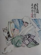 Chinese Watercolor Painting of Mother and Child, Signed and sealed Huang Zhou, hanging scroll
