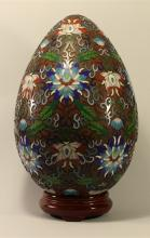 Chinese Antique Hollowed Egg-shaped Cloisonne Figure, with stand
