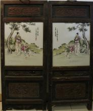 A Pair of Framed Chinese Antique Porcelain Panel, Signed and sealed Liu Xi Ren
