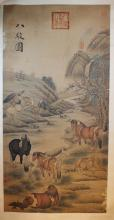 Chinese watercolor painting of Eight Horsed, hanging scroll, signed and sealed Lang Shi Ning.
