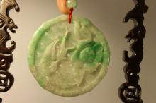 Grade A Jadeite Carved Relief Sculpture of Bird and Flower