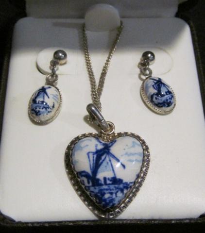 Necklace & Earring set - Sterling & Porcelain