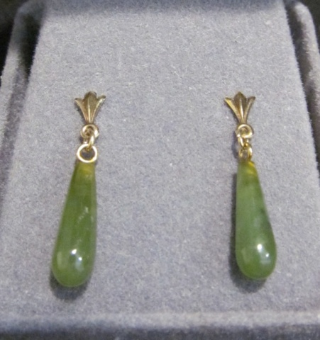 10k Gold & Jade Earrings