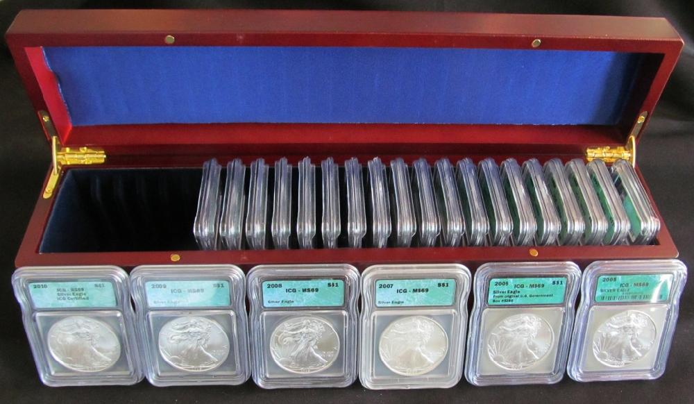 (25) 1986 to 2010 Silver Eagle MS69 Dollars
