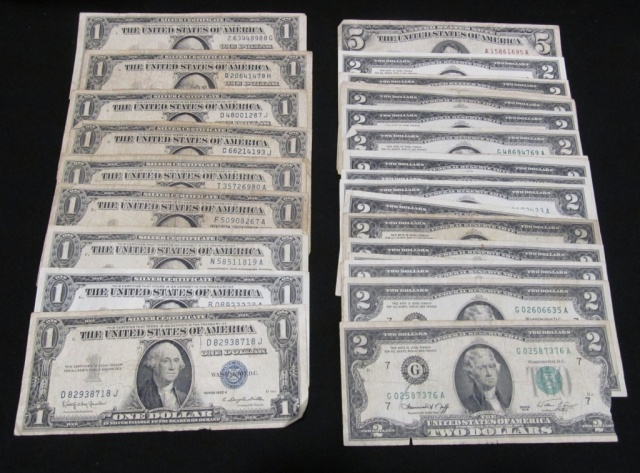 U.S. Currency - Silver Certificates, $2 Bills, $5