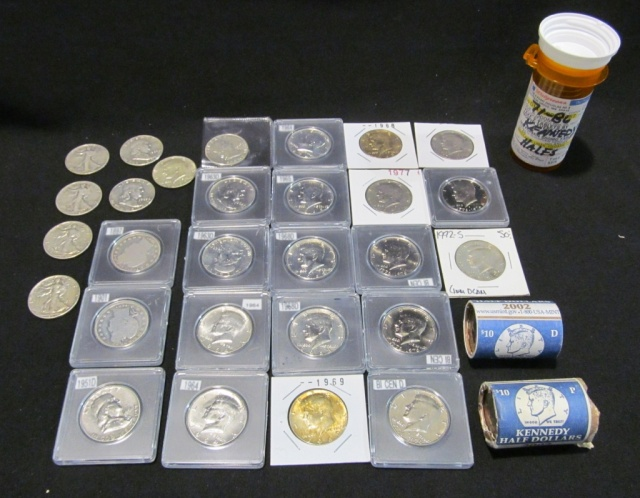 Collection of Half Dollars - 90-100 coins