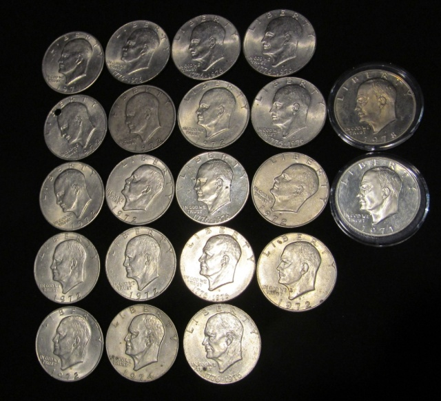Collection of Eisenhower Dollars - 1972 to 1976