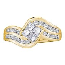 14KT Yellow Gold 1.00CTW DIAMOND LADIES INVISIBLE RING #34698v3