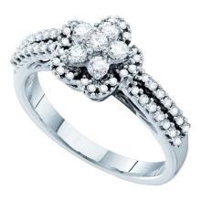 14KT White Gold 0.50CTW DIAMOND FLOWER RING #34733v3
