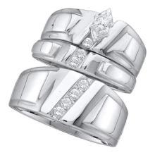 14K White-gold 0.25CTW DIAMOND MARQUISE CENTER TRIO SET #34669v3