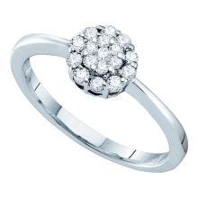 14KT White Gold 0.25CTW DIAMOND LADIES FLOWER RING #34729v3
