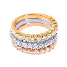 14k Tri Color Gold Diamond Stackable 3-Piece Wedding Ring Set APPROX 1.20 CTW (I1) #23773v3