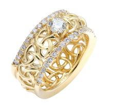 10K Gold Celtic Trinity Love Knot Diamond Wedding Ring 0.80ct. (VS2) #23829v3