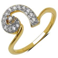 1.70 Grams White Cubic Zirconia Gold Plated Brass Ring #23129v3