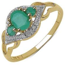 0.64CTW Genuine Emerald & White Diamond 14K Yellow Gold Plated .925 Sterling Silver Ring #23124v3