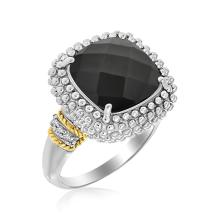 18K Yellow Gold & Sterling Silver Black Onyx and Diamond Popcorn Cushion Ring #91745v2
