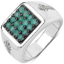 0.92CTW Genuine Emerald & White Diamond .925 Sterling Silver Ring #23122v3