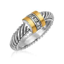 18K Yellow Gold and Sterling Silver Diamond Italian Cable Ring (.04 ct. tw.) #91739v2