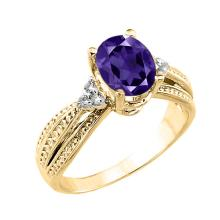 10K Yellow Gold Genuine Amethyst and Diamond Proposal Ring #23572v3