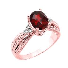 10K Rose Gold Checkerboard Cut Genuine Garnet and Diamond Proposal Ring #23581v3