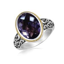 18K Yellow Gold and Sterling Silver Ring with a Pink Amethyst Stone #92186v2