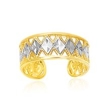 14K Two-Tone Gold Cuff Type Cut-Out Toe Ring with Diamond Design #91325v2