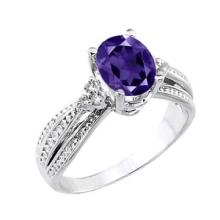 10K White Gold Genuine Amethyst and Diamond Proposal Ring #23562v3