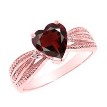 10K Rose Gold Garnet and Diamond Proposal Ring APPROX 1.02 CTW #23594v3