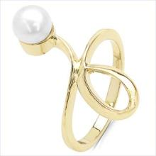 1.50CTW Genuine Pearl .925 Sterling Silver Gold Plating Ring #23120v3