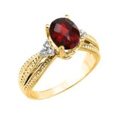 10K Yellow Gold Checkerboard Cut Genuine Garnet and Diamond Proposal Ring #23564v3