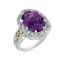 18K Yellow Gold and Sterling Silver Fleur De Lis Ring Amethyst and Diamonds #91700v2