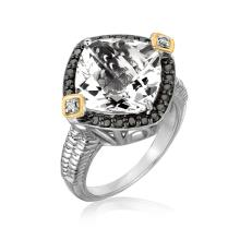18K Yellow Gold and Sterling Silver Crystal Quartz Diamond Cushion Ring #91359v2
