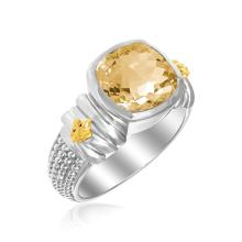 18K Yellow Gold & Sterling Silver Fleur De Lis Ring with Cushion Citrine Accent #91205v2