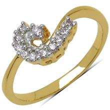 1.30 Grams White Cubic Zirconia Gold Plated Brass Ring #23130v3