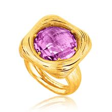 Italian Design 14K Yellow Gold Filament Ring with Round Amethyst #92394v2
