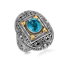 18K Yellow Gold and Sterling Silver Ring with a Framed Blue Topaz Accent #92799v2