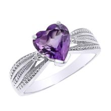 10K Beautiful White Gold Amethyst and Diamond Proposal Ring #23580v3