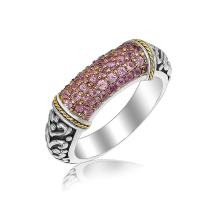 18K Yellow Gold and Sterling Silver Scrollwork Style Ring with Pink Amethysts #92111v2