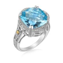 18K Yellow Gold and Sterling Silver Blue Topaz and Diamond Fleur De Lis Ring #91663v2