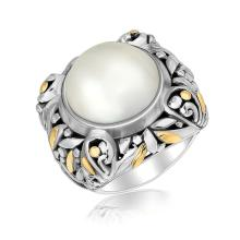 18K Yellow Gold and Sterling Silver Pearl Embellished Leaf Style Ring #93135v2